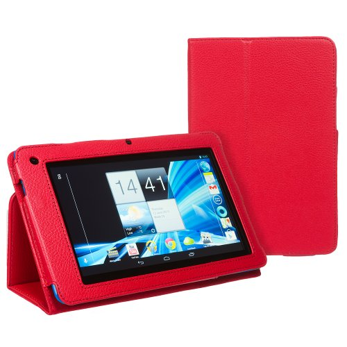 Invero Slim Fit Leather Case Cover with Stand Feature for Acer B1 A71 Iconia 7' Tablet Includes Screen Protector & Stylish Stylus Pen (Red)