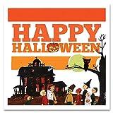 Giallobus - Cuadro - The Saturday Evening Post - Feliz Halloween Vuelo de Las Brujas - Vidrio acrílico plexi - 50x50 - Listo para Colgar - Cuadros Modernos para el hogar - Vintage - Listo para Colgar