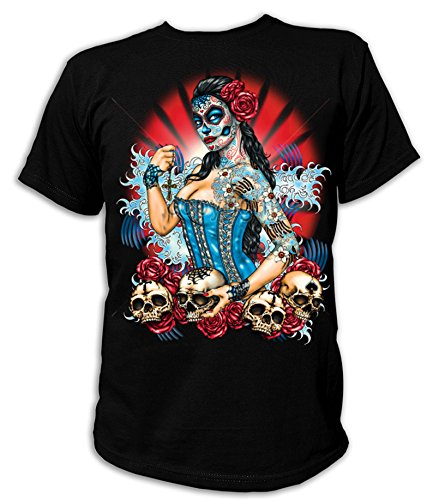 Artdiktat T-Shirt Camiseta para Hombre - Day of The Dead Pinup with Skulls and...
