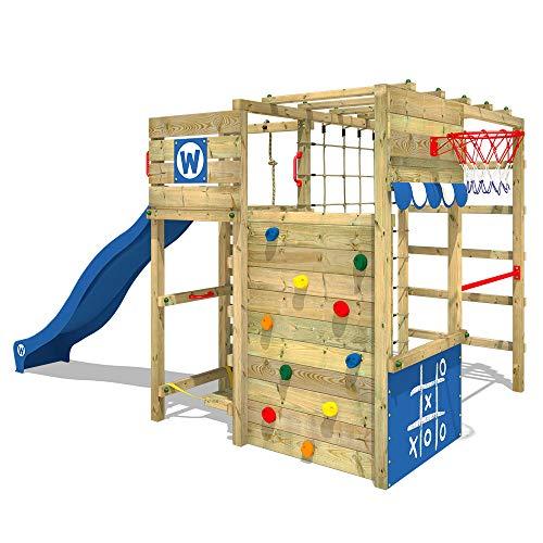 WICKEY Klettergerüst Spielturm Smart Victory mit blauer Rutsche, Gartenspielgerät mit Kletterwand & Spiel-Zubehör