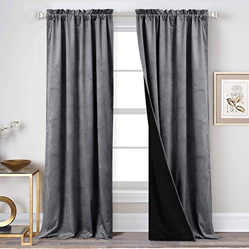 StangH Velvet Curtains 108 inches Long - Full Blackout Lining Gray Velvet Drapes, Extra Long Heavyweight Soundproof Window Covering Privacy Panels for Sliding Glass Door, Grey, 52 x 108 inch, 2 Pcs