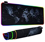 RGB Gaming Mouse Pad, Ultra Bright LED Light&Soft Large Extended Mousepad with 12 Lighting Rainbow Modes, Water Resistance, Non-Slip Rubber Base Keyboard Pad Mat, 31.5 X12 inch (World Map)