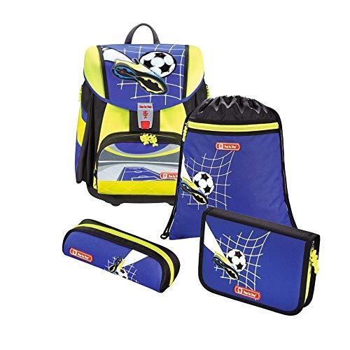 """Step by Step Schulranzen-Set Touch 2 DIN """"Soccer Team"""" 4-teilig, blau-gelb, ergonomischer Tornister mit Reflektoren, höhenverstellbar für Jungen 1. Klasse, 21L"""