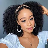 Headband Wig Human Hair Kinky Curly Wigs for Black Women Human Hair Mongolian Afro Kinky Curly Hair Wig 12 Inch Machine Made None Lace Front Afro Kinky Curly Wigs With Headband Attached