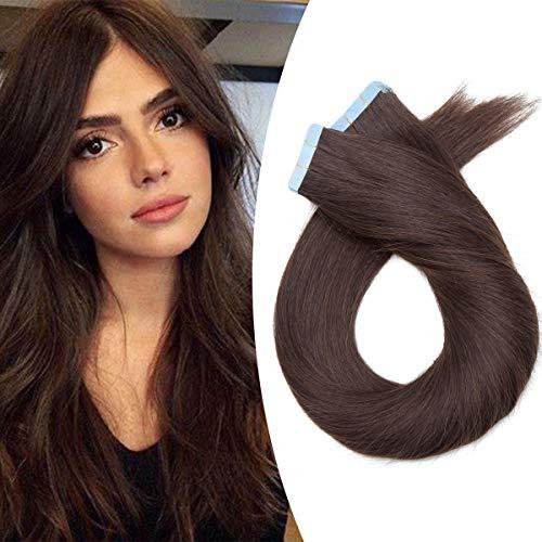 Elailite Extension Adesive Capelli Veri Biadesivo Totalmente Invisibili 20 Ciocche Biadesive 40cm Tape 100% Remy Human Hair Naturali 50g senza Clip #2 Marrone Scuro