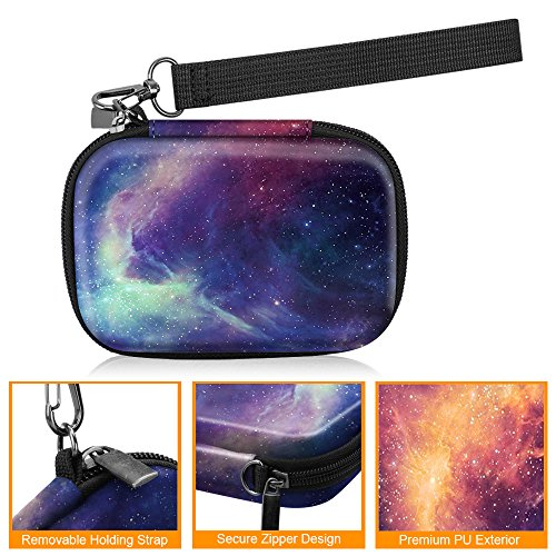 Fintie Carrying Case Compatible with HP Sprocket Photo Printer - Hard EVA Shockproof Storage Portable Travel Bag w/Inner Pocket, Removable Strap and Metal Hook (Galaxy)