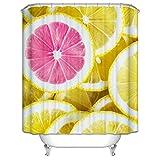 Amody Badvorhang Stoff Zitronenpulver Zitrone Duschvorhänge Anti Schimmel Größe 150x200CM Duschvorhang Abwaschbar