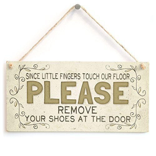 Since little fingers touch our floor please remove your shoes at the door Wood Sign Wall Plaque Wooden Hanging Door Sign For Hallway Entrance Vestibule