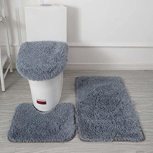 BEFAERY Juego de alfombras de baño de Color sólido de Felpa Suave, 3 Piezas, Alfombrilla de baño Absorbente Antideslizante, Alfombra de Contorno en Forma de U y Tapa de Inodoro Lavable