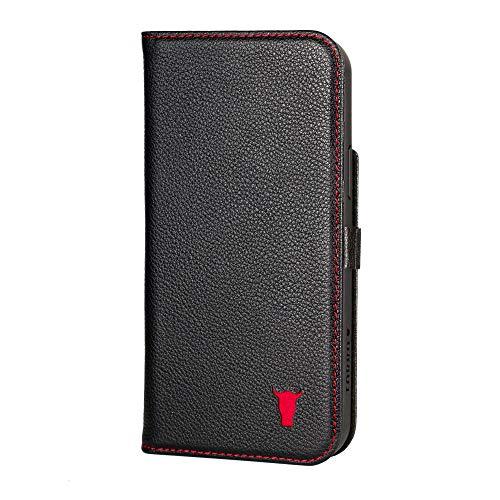 TORRO Handyhülle Kompatibel Mit iPhone 12 Pro Max - Hochwertige Lederhülle Mit Kartenfächern Und Horizontale Standfunktion [Strapazierfähiger Rahmen] (Schwarz)