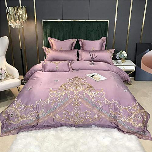 TYDH Gold Embroidery 60S Satin Silk Cotton Bedding Set Double Duvet Cover Set Bed Linen Fitted Sheet Pillowcases Home Textile 10 Bed Sheet Style Queen Size 4pcs