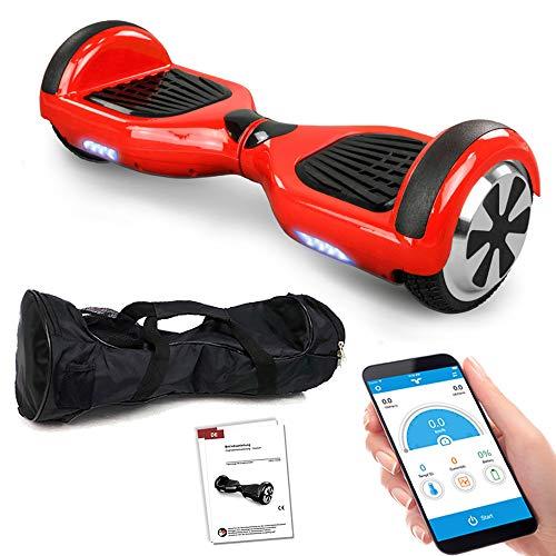 Hoverboard GPX-01-6,5 Zoll Motion V.5 mit App, inkl. Tragetasche, Dual Motor, Bluetooth 4.0, Lautsprecher, Kinder Sicherheitsmodus, Self Elektro Balance Scooter, 600 Watt (rot)