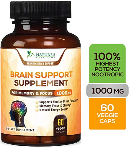 Brain Supplement, High Potency Nootropic Booster 1000mg - Memory Pills to Support Clarity, Made in USA, Best Natural Mental Performance & Brain Support - 60 Capsules