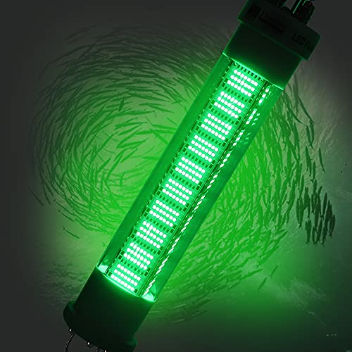 Hanchen LED Underwater Fishing Light Submersible Fishing Light Dimmable Fishing Lamp 12v 300w Night Fishing Light 30000LM Fish Attracting Light Boat Fishing Waterproof IP68 (Green Light)