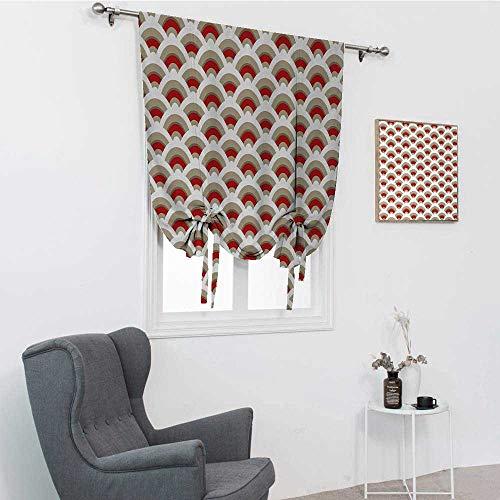 GugeABC Abat-jour abstrait pour fenêtre de maison, motif festonné oriental inspiré par les arabesques marocains traditionnels, ombres à nouer pour fenêtre, orange, brun clair, blanc, 76,2 x 162,6 cm