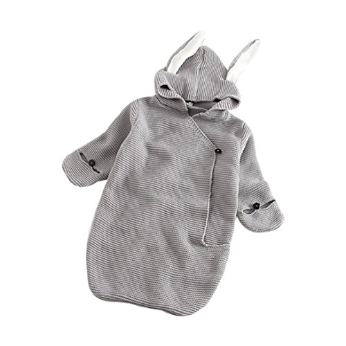 Gigoteuses,covermason Bébé Fille et Garçon Mignon Nids d'ange Peluche Couverture Chaud Hiver Sac de Couchage Tricoter Swaddle Couverture Couchage Swaddle Wrap (Gris, 0-12mois)