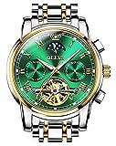 自動巻き 腕時計 メンズ 機械式 うで時計 ビジネス おしゃれ 防水 男性用 高級 ブランド スケルトン ビッグフェイス ステンレスバンド アナログ 紳士 人気 時計 ムーンフェイズダイヤル カレンダー ブラック 父の日 プレゼント OLEVS