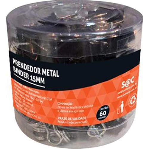 Prendedor Metal Binder Preto 15mm Pote/60 Um Jocar Office Leonora, Preto