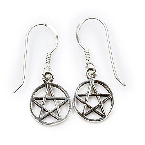 Pentagramm Ohrschmuck Hexenstern Ohrhänger 925 Silber Schmuck Pentagramm Ø 1.5cm, Länge mit Hänger: ca 3cm Ohrring