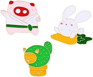 2~6Pcs / Set Broche de esmalte de dibujos animados Flor de cactus Boleto de tren Astronauta Cup Pin Icon Abrigo de mezclil...