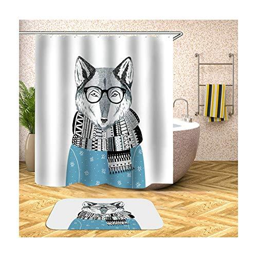 MF.CHAMA Bad Duschvorhang, Duschvorhang Füchse Polyester 180x200CM und 40x60 cm Teppich