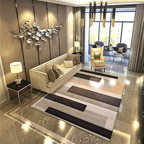 DHR alfombras moqueta Alfombras moderna del tacto suave de pelo corto Alfombras 6 mm de espesor de la sala extra rectangular rayado geométrico amarillo de Brown ( Talla : 2x3M(79x118inch) )