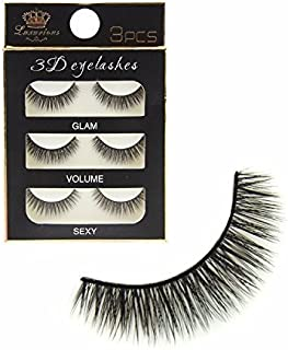 DALUCI 3 Pairs Black Handmade Natural 3D Thick Long False Eyelashes
