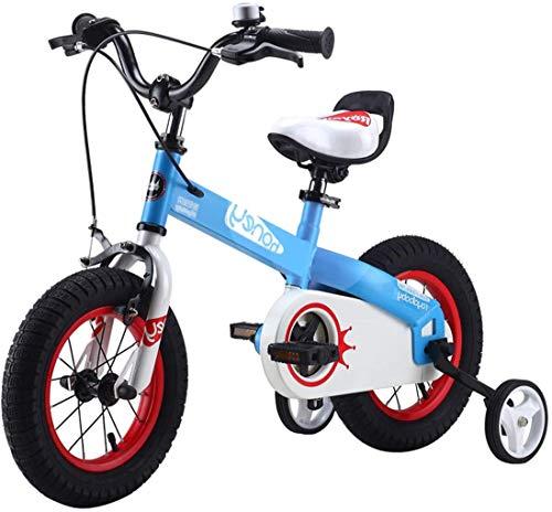 WSJ Kinderfahrrad mit Laufrädern, aus Karbonstahl, für Jungen und Mädchen, blau, 12inch