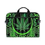 VICAFUCI Nuova Borsa per Laptop 15-15.4 Pollici Borsa del Portatile,Erbaccia Verde della Bandiera della Foglia della Marijuana della Stampa del Modello 3D