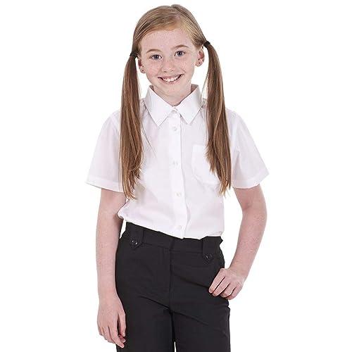 2f4fd5b4077362 BHS Girls 2 Pack Regular Fit Non Iron Short Sleeve School Shirt