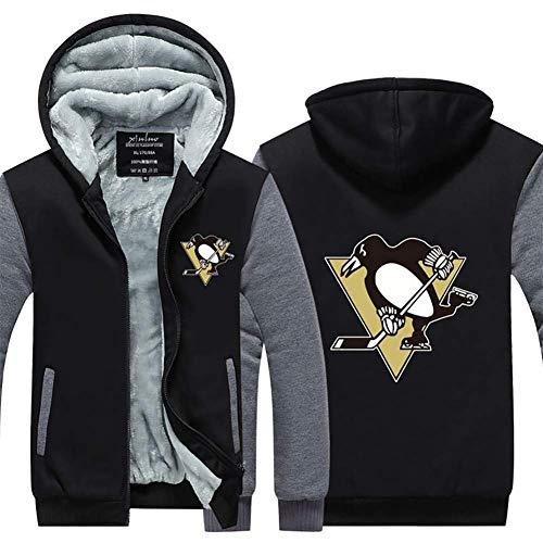 Yajun Herren Fleece Hoodie Winter Jacken NHL Pittsburgh Penguins Zip Sweatshirt Warm Verdicken Mäntel Persönlichkeit Outwear,Black-Gray,L