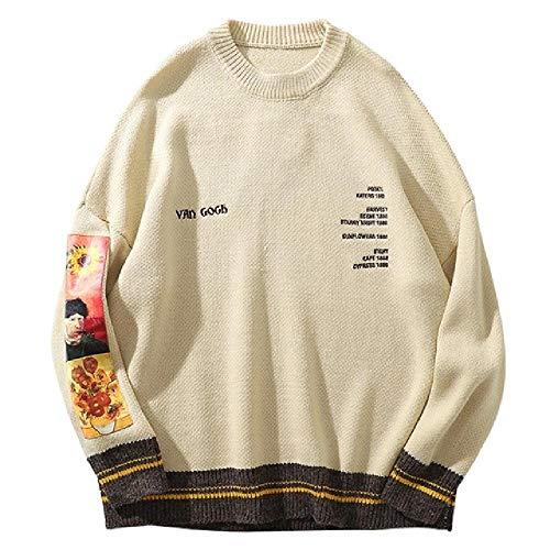 Hip Hop Trui Trui Mannen Van Gogh Schilderen Borduurwerk Gebreide Trui Harajuku Streetwear Tops Casual Pullover