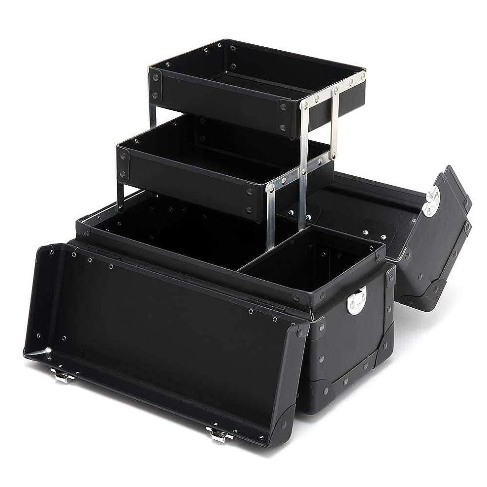 豚スパンダウンメイクボックス コスメボックス Mサイズ プロ用 [ ツール 収納 軽量 大容量 ] 日本製 グラスマーブル正規品 ブラック