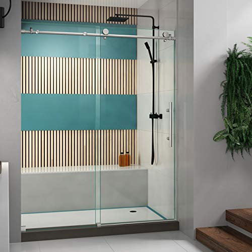Product Image of the DreamLine SHDR-61607610-07 Enigma-X Shower Door, 56-60 in. W x 1 in. D x 76 in. H, Brushed Stainless Steel