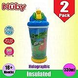 Nuby - Juego de 2 pajitas de silicona suave aislantes para niños y bebés, con tapa de rosca y tapa de rosca, a prueba de goteo, para agua de zumo de leche de 18 meses, color azul