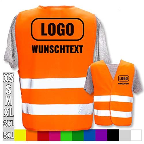 Hochwertige Warnweste direkt selber gestalten * eigener Aufdruck mit Text Logos Grafiken Designs, Position & Druckart:Rücken + Front/Standard-Druck, Farbe & Größe:Orange/Größe XL/XXL