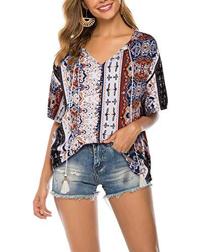 KILIG Women's Summer Boho V-Neck Short Sleeve Ethnic Style Print floral Tunic Shirt Casual Loose Blouses