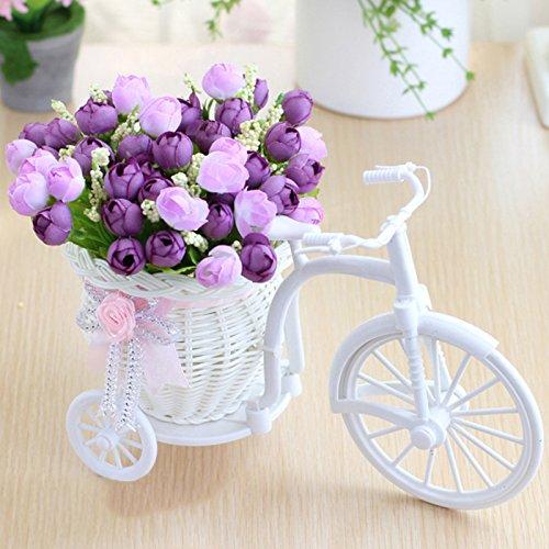 LAMF Fahrrad Kunstblume Dreirad Blumenkorb Garten Nostalgie Fahrrad Kunstblume Dekor Pflanzenständer Mini Fahrrad Blumenständer für Zuhause Hochzeit Dekoration