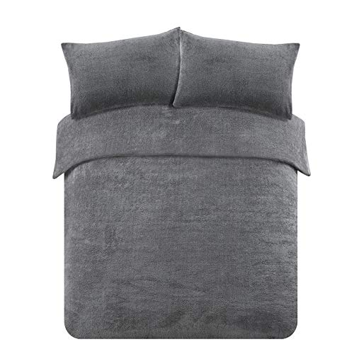 Brentfords Teddy Fleece Duvet Cover with Pillow Case Thermal Fluffy Warm Soft Bedding Set, Charcoal Grey-Double, Polyester