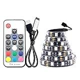 Tiras LED 5 V USB Tape tira llevada RGB PC 5V 5050 TV de luz de fondo impermeable cinta RGB 5V tira llevada USB 5V Led cinta impermeable con el regulador (Emitting Color : 17Key Controller Set)