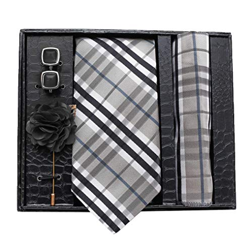Axlon Men Formal/Casual Jacquard Neck Tie Pocket Square Accessory Gift Set with Cufflinks and Brooch Pin – Grey (Free Size)