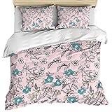 Funda nórdica de lujo, funda nórdica de franela rosa con flores y fundas de almohada, juego de cama de 3 piezas, juego de funda nórdica suave / acogedora de algodón floral vintage para dormitorio