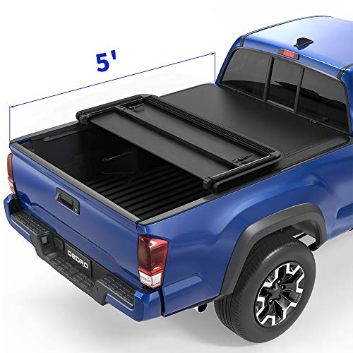 oEdRo Upgraded Soft Tri-fold Truck Bed Tonneau Cover On Top Compatible with 2016 2017 2018 2019 2020 2021 Toyota Tacoma with 5ft Bed, Fleetside
