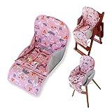 Amcho Coussin de chaise haute respirant avec sangle de sécurité confortable, joli motif, doux et confortable (motif animal rose)