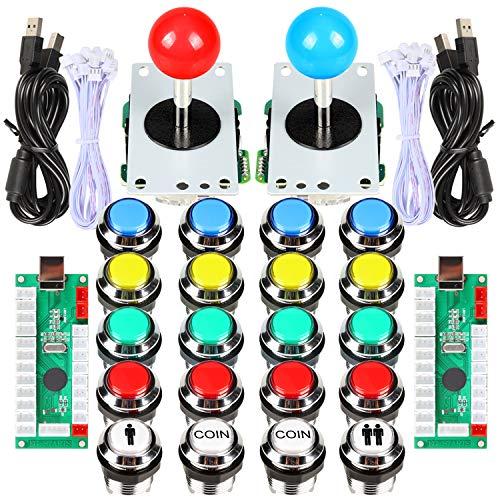 EG STARTS 2 jugadores Classic Arcade Contest DIY Kits USB Encoder to PC 5 Pin Joystick + Chrome LED iluminado Pulsador 1 y 2 jugadores Botones de monedas para Arcade Mame Raspberry Pi 2 3 3B Games