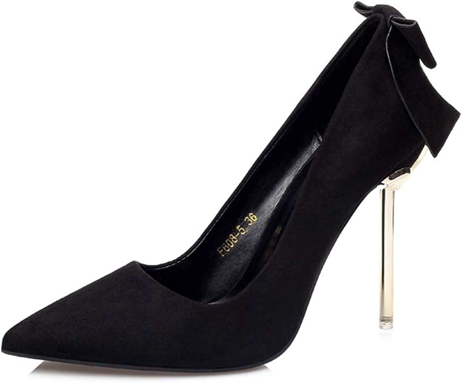 Drew Toby Women Pumps Suede Pointed Toe Bowknot Shallow Solid color Elegant OL High Heels