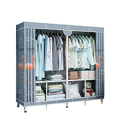 Armario de dormitorio para hombre, soporte de metal para casa, armario de tela portátil, guardarropa estable para Dormitorio, habitación simple, 170 x 160 x 48 cm (tamaño: 170 x 160 x 48 cm, color: B)