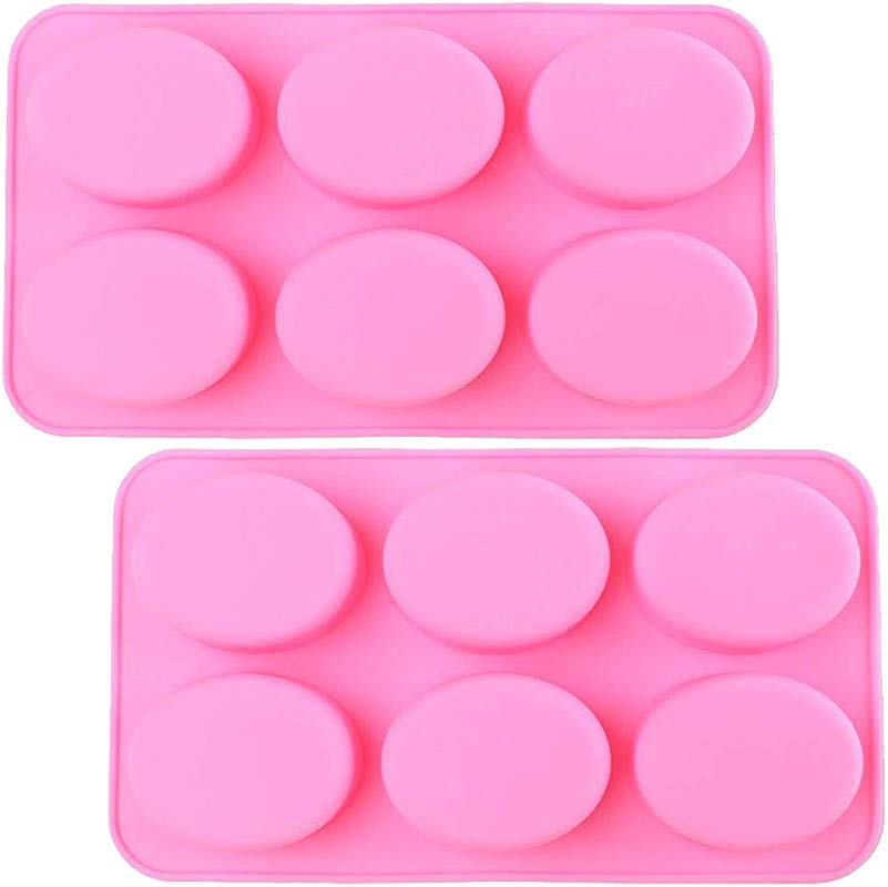 Silicone Mold For Handmade Soap Jelly Pudding Cake Baking Tools Biscuit Cookie Chocolate Molds Pink Oval 2 Pack