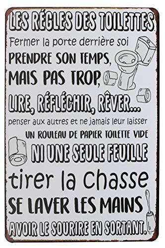 Hioni Les Règles des Toilettes Fermer la Porte derrière soi, Pancarte en Métal Panneau Poster Plaque Métallique Slogan Art Décor Vintage Pr Maison Café Pub