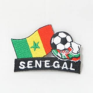 Senegal Soccer Football Kick Country Flag Embroidered Iron on Patch Crest Badge ... 2 X 1 3/4 Inch .. New